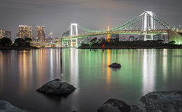 Long exposure of bay and Rainbow bridge from Odaiba, Nightview Stock Photography