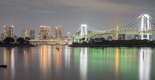 Long exposure of bay and Rainbow bridge from Odaiba, Nightview Royalty Free Stock Photography