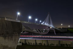 Long exposure on a bicycle bridge Royalty Free Stock Images