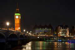 Long exposure of Big Ben and Westminster Bridge Royalty Free Stock Photos