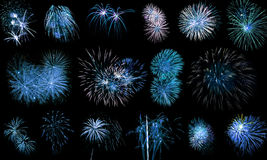 Long Exposure of Blue Fireworks Royalty Free Stock Photography