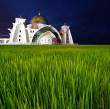 Long Exposure Blue Hour Selat Malacca Mosque. Soft Focus and Mot Stock Image