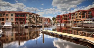 Long exposure of boats in a marina Royalty Free Stock Photography