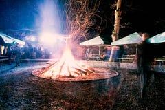 Long exposure of bonfire at night stock photo