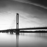 Long exposure bridge. Beautiful long exposure black and white landscape with bridge Royalty Free Stock Photos