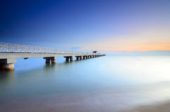 Long exposure of a bridge at evening before sunset Royalty Free Stock Photo