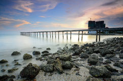 Long exposure of a bridge at evening before sunset royalty free stock photography