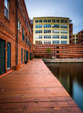 Long exposure of buildings along the waterfront in Fells Point, Stock Images