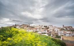 Long exposure of Caceres with cloudy sky Stock Photography
