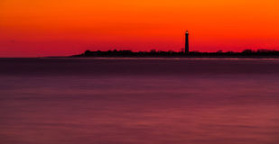 Long exposure of the Cape May Point Lighthouse after sunset, New stock photo