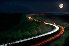 Long Exposure of Car Lights on Motorway Royalty Free Stock Image