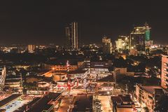 Long exposure of Cebu City. The lights of Cebu City, Philippines are captured in High Resolution Stock Image