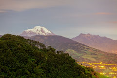Long Exposure Of Chimborazo And Altar Volcano, South America Stock Images