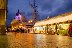 Christmas Market in Old Market Square, Nottingham royalty free stock photo