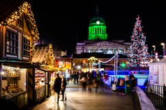 Christmas Market in Old Market Square, Nottingham stock images