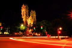 Long exposure of a church in downtown Salt Lake City Utah Royalty Free Stock Images