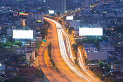 Long exposure of city expressway during busy hours Royalty Free Stock Photos