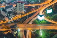 Long exposure of city expressway at night Royalty Free Stock Photo