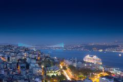 Long exposure cityscape of Istanbul at a night from Galata to th royalty free stock photography