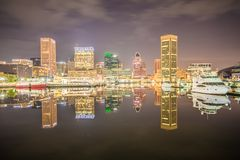 Long exposure of the colorful Baltimore skyline stock photography