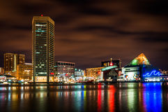 Long exposure of the colorful Baltimore skyline at night, Maryla Stock Photo