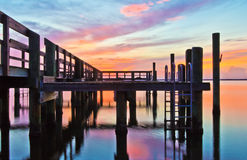 Long exposure colorful sunrise. Colorful sunrise over the Chesapeake Bay at Havre de Grace, MD Stock Photos