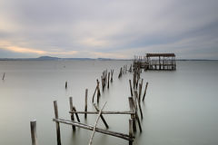 Long exposure effect in the old pier Royalty Free Stock Photography