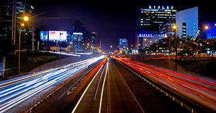 Long exposure in express way of the city of Lima royalty free stock photo