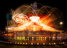 Long exposure of fairground ride. Velez Malaga, Spain. stock image