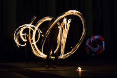 Long exposure fire show Stock Image