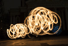 Long exposure fire show Royalty Free Stock Photography