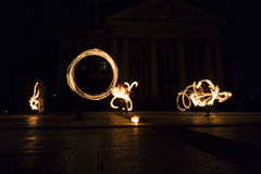 Long exposure fire show Royalty Free Stock Photos