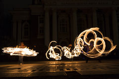 Long exposure fire show Stock Photography