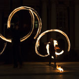 Long exposure fire show square image Stock Photos