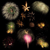 Long Exposure of Fireworks background Stock Photos