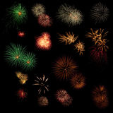 Long Exposure of Fireworks background Royalty Free Stock Photo
