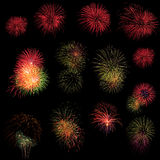Long Exposure of Fireworks background Stock Image
