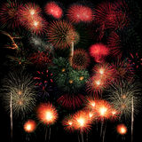 Long Exposure of Fireworks background Stock Photo