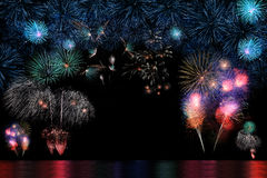 Long Exposure of Fireworks Selection and Reflectio Royalty Free Stock Photos