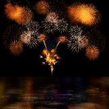 Long Exposure of Fireworks Selection and Reflectio Royalty Free Stock Images