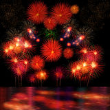 Long Exposure of Fireworks Selection and Reflectio Royalty Free Stock Photography
