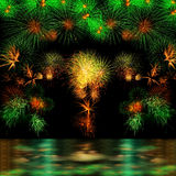 Long Exposure of Fireworks Selection and Reflectio Stock Image