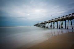 Long exposure of the fishing pier and Atlantic Ocean, in Virgini. A Beach, Virginia Stock Photo