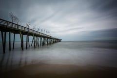 Long exposure of the fishing pier and Atlantic Ocean, in Virgini. A Beach, Virginia Royalty Free Stock Image