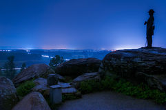 Long exposure on a foggy night on Little Round Top, in Gettysburg, Pennsylvania Stock Photo