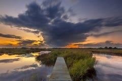 Long exposure Footbridge in wetland Stock Photography