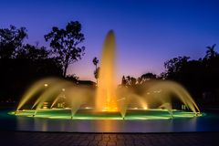 Long exposure fountain. Long exposure of the Bea Stevenson fountain in Balboa park located in San Diego, California royalty free stock photos