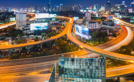 Long exposure of freeway in the business district Stock Image