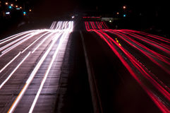 Long exposure of freeway traffic at Royalty Free Stock Photography