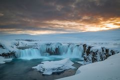 Long exposure of Godafoss at dusk on a cold islandic winter day stock photography